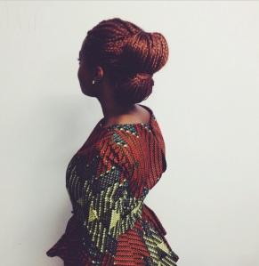 African print dress with waterfall peplum